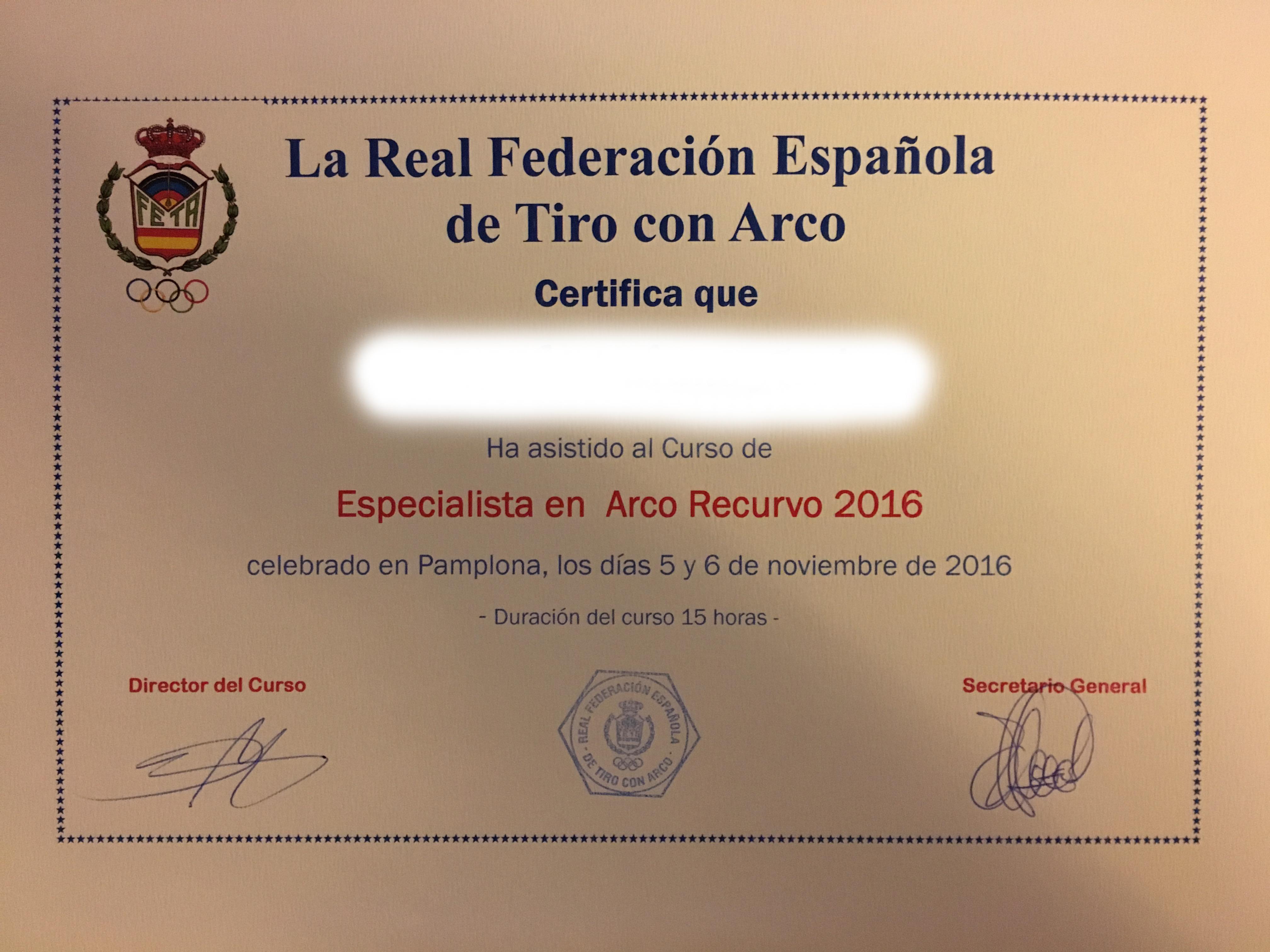 Curso de Especialista en Arco Recurvo – 2016